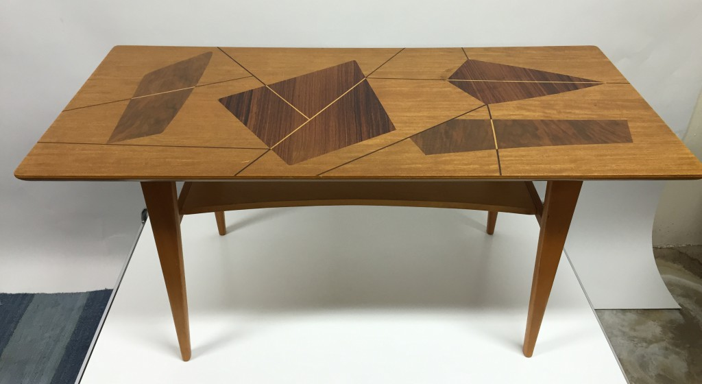 Swedish Coffee Table With Top Inlaid With Geometrical Design