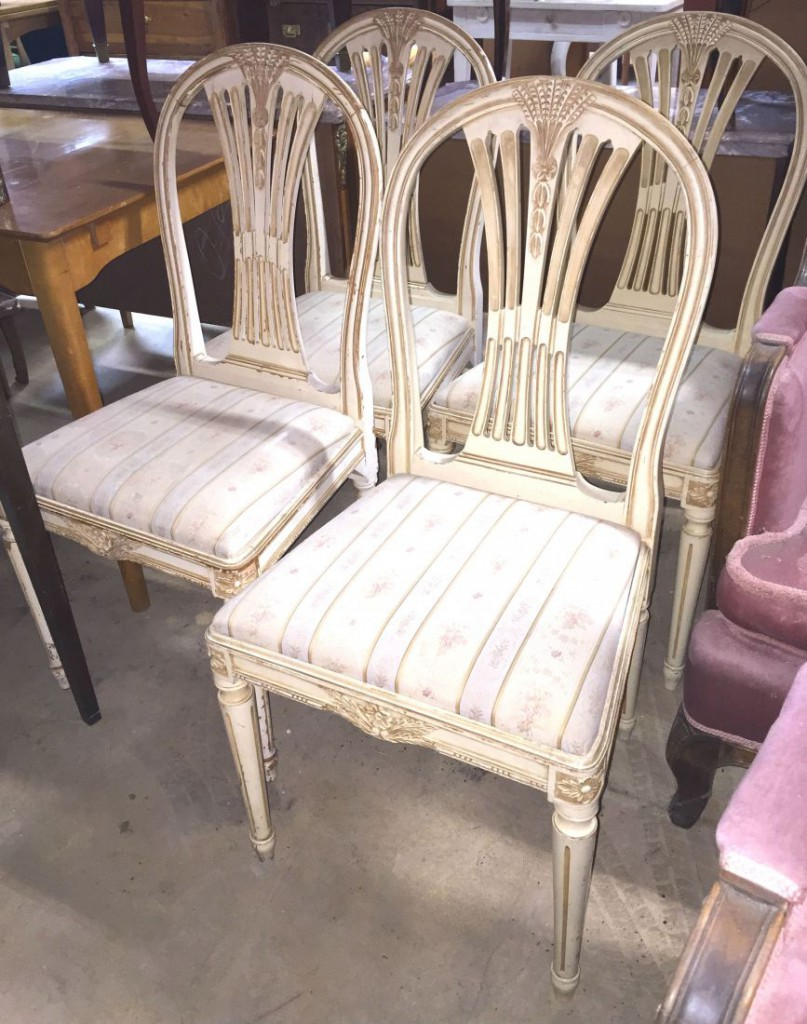 Vrigstad antikcenter set of 4 swedish gustavian style for Swedish style dining chairs